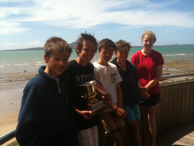 From left Sam, William, Pat, George and Eloise hold the Kohi Cup.